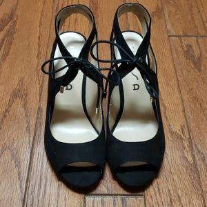 Unisa black tie front - velvet feel - heels NWOT